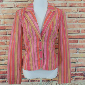 DKNY Jeans Striped Casual Blazer Jacket